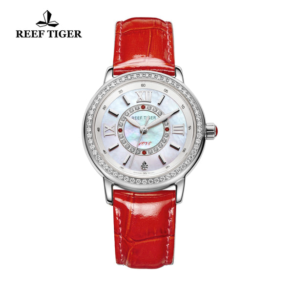 Reef Tiger Fashion White MOP Dial Steel Diamonds Watches For Women RGA1563
