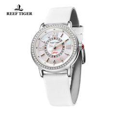 Reef Tiger Fashion Steel White MOP Dial Diamonds Watches For Women RGA1563