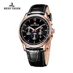 Reef Tiger Fashion Rose Gold Leather Strap Mens Automatic Watch RGA1654