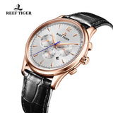 Reef Tiger Luxury Fashion Rose Gold Leather Strap Mens Automatic Watch RGA1654