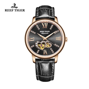 Reef Tiger Rose Gold Automatic Leather Strap with Black Dial Watch RGA1580