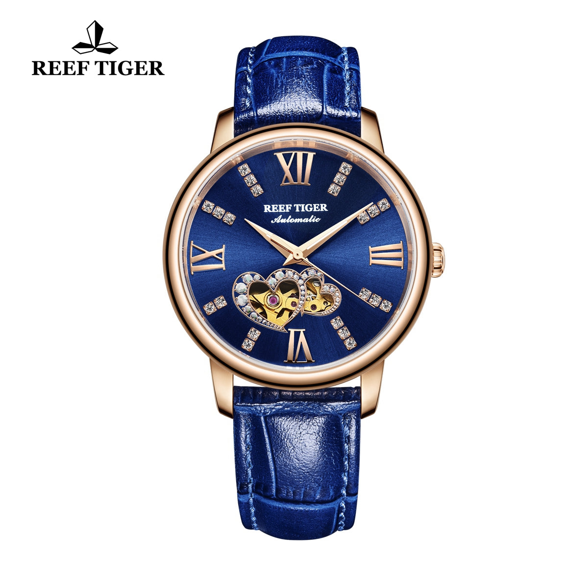 Reef Tiger Rose Gold Automatic Leather Strap with Blue Dial Watch RGA1580