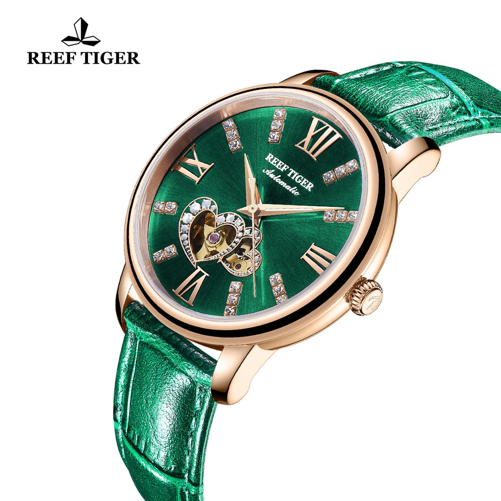 Reef Tiger Rose Gold Automatic Leather Strap with Green Dial Watch RGA1580