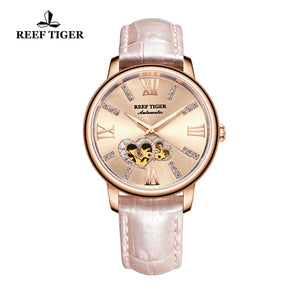 Reef Tiger Rose Gold Automatic Leather Strap with Rose Gold Dial Watch RGA1580