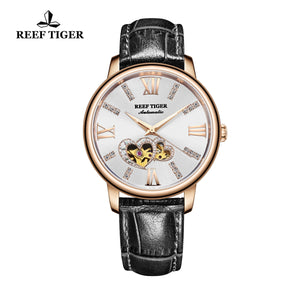 Reef Tiger Rose Gold Automatic Leather Strap with Sliver Dial Watch RGA1580