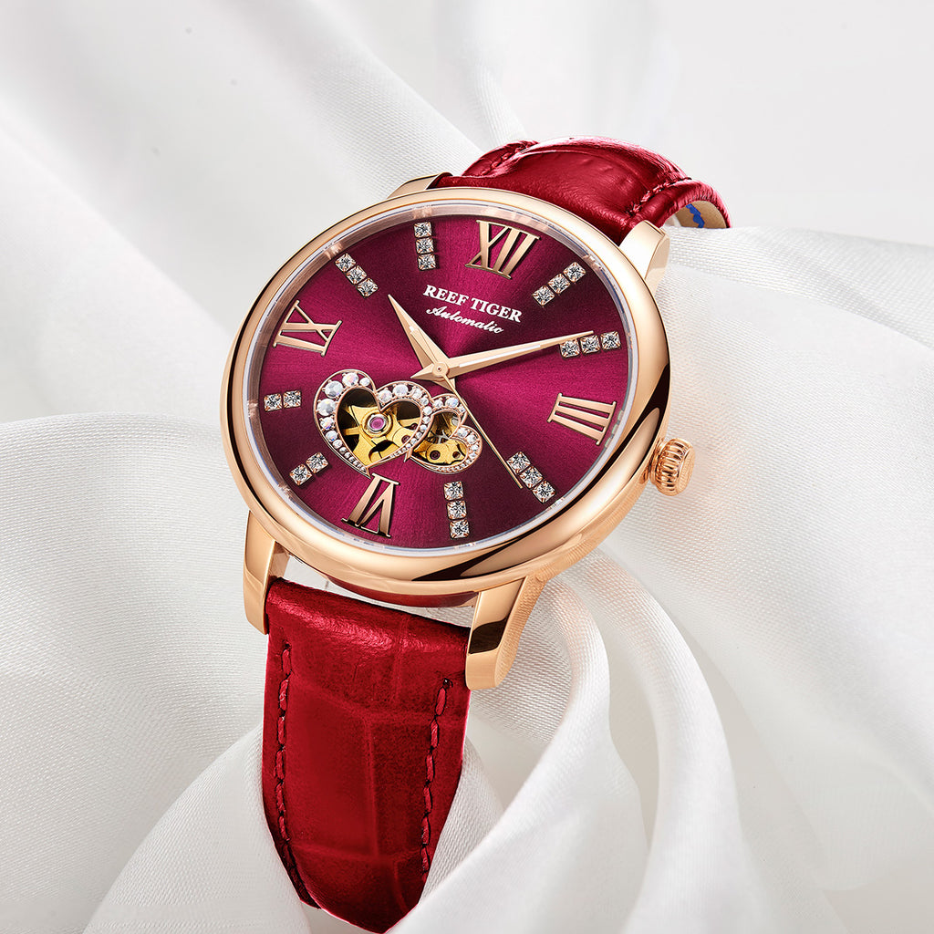 Reef Tiger Rose Gold Automatic Leather Strap with Purple Dial Watch RGA1580