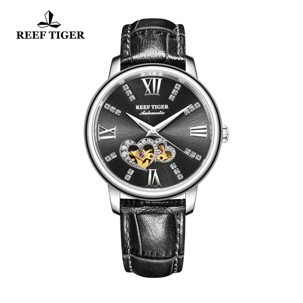 Reef Tiger Steel Automatic Leather Strap with Black Dial Watch RGA1580