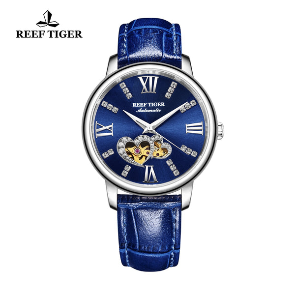 Reef Tiger Steel Automatic Leather Strap with Blue Dial Watch RGA1580