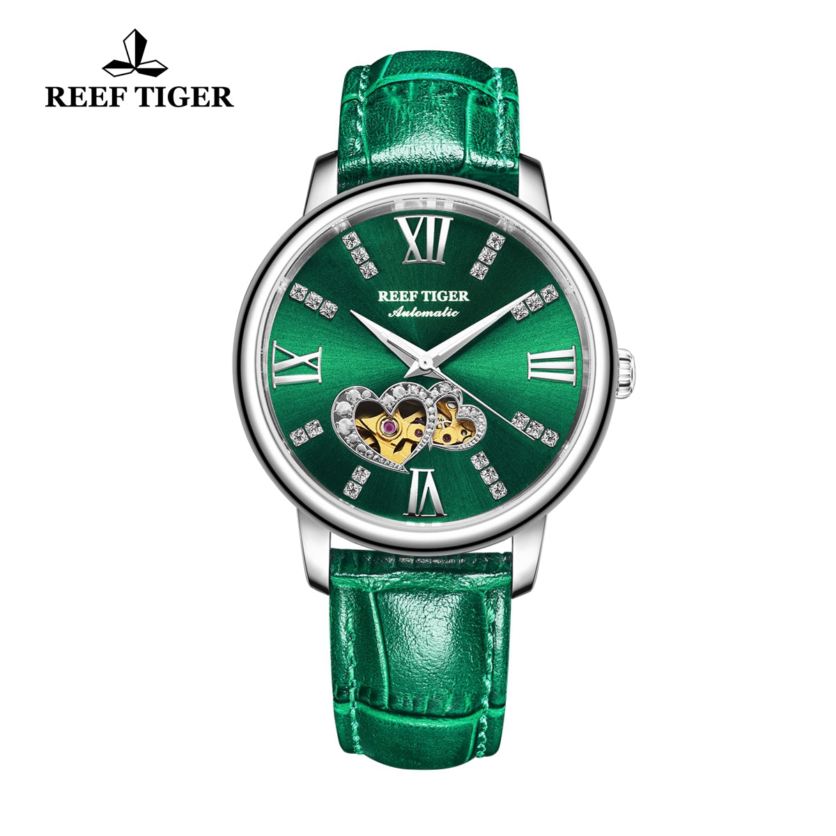 Reef Tiger Steel Automatic Leather Strap with Green Dial Watch RGA1580