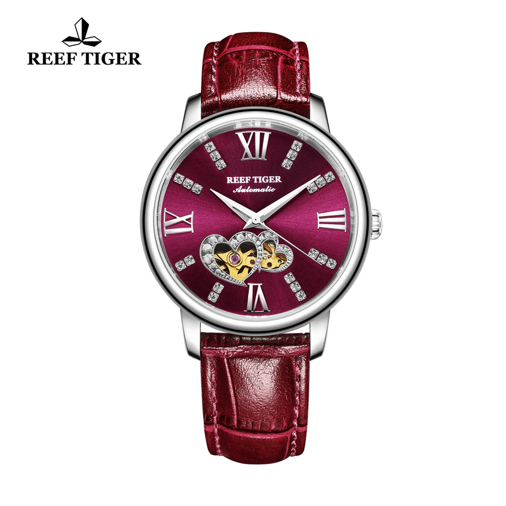 Reef Tiger Steel Automatic Leather Strap with Purple Dial Watch RGA1580
