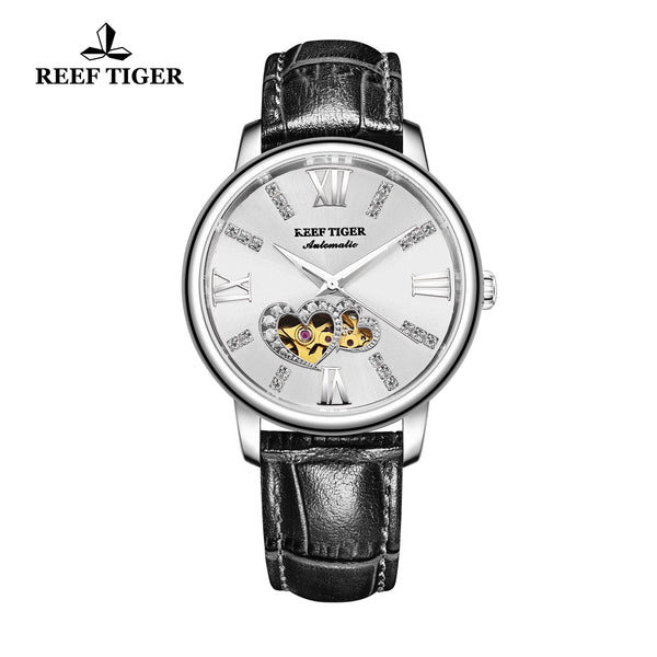 Reef Tiger Steel Automatic Leather Strap with Sliver Dial Watch RGA1580