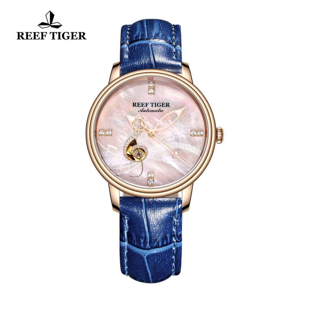 Reef Tiger Luxury Fashion Rose Gold Leather Strap Womens Watch RGA1582