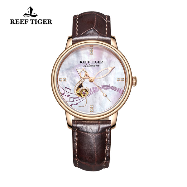 Reef Tiger Luxury Fashion Rose Gold Leather Strap Womens Automatic Watch RGA1582