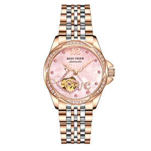 Reef Tiger Luxury Flower Diamond Women Rose Gold Bracelet Automatic Watch RGA1583