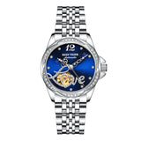Reef Tiger Luxury Flower Diamond Women Steel Bracelet Automatic Watch RGA1583