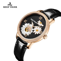 2cafd4cb5 ... Reef Tiger Love Bee Fashion Men Rose Gold Genuine Leather Strap Automatic  Watches RGA1585-PBB ...