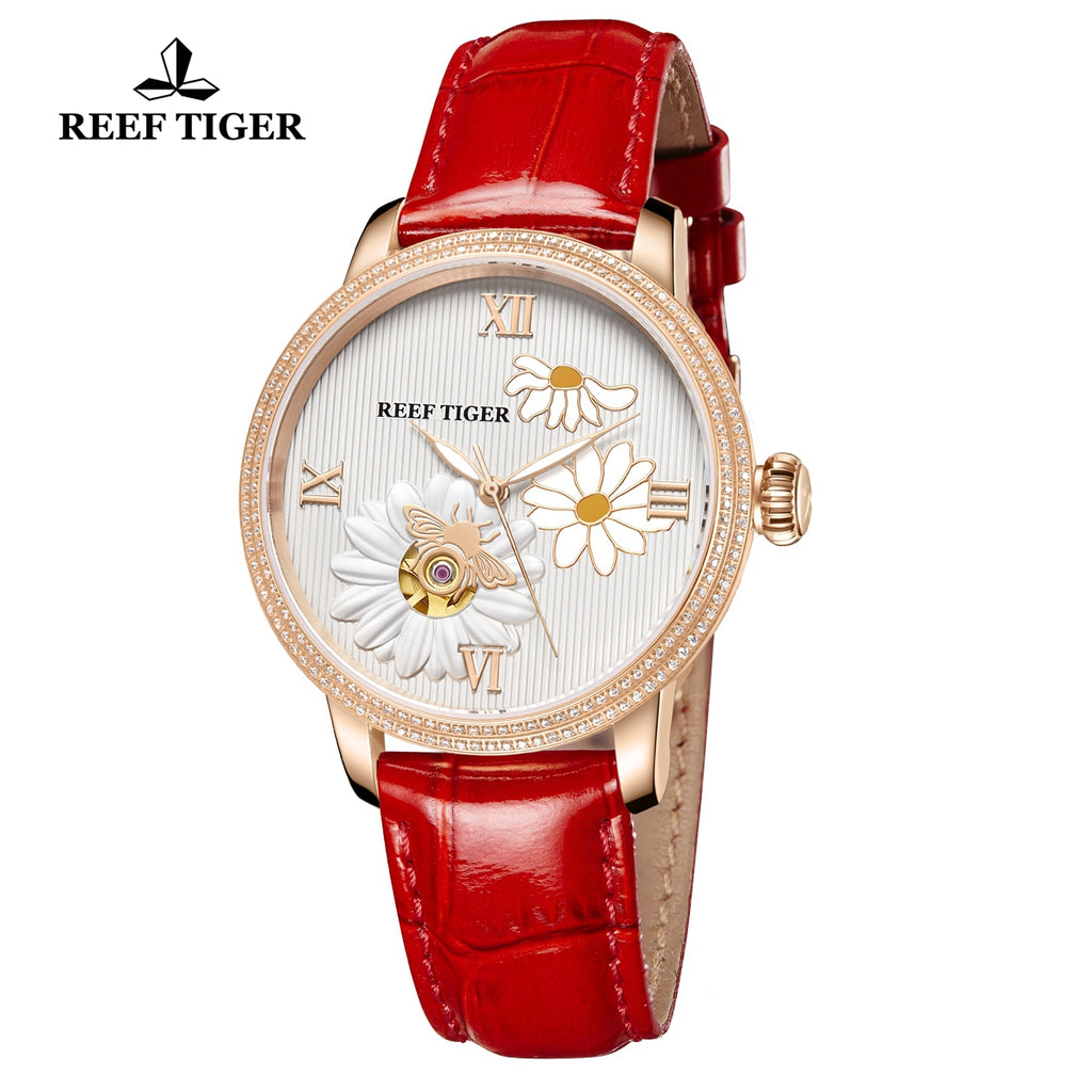 Reef Tiger Love Bee Fashion Men Rose Gold Genuine Leather Strap Automatic Watches RGA1585