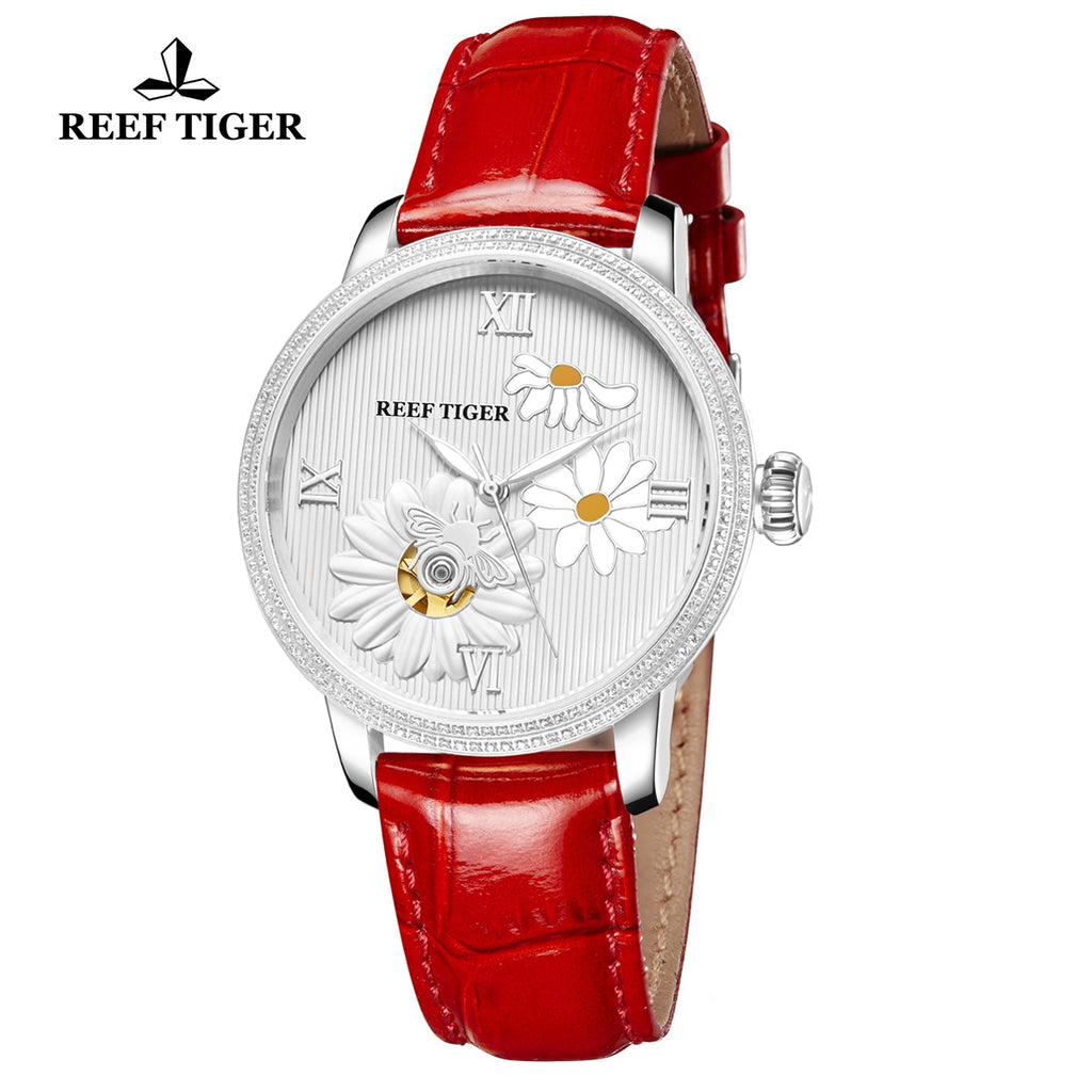 Reef Tiger Love Bee Fashion Steel Genuine Leather Strap Men Automatic Watches RGA1585