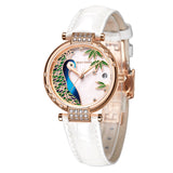 Reef Tiger Top Brand Luxury Ladies Watch Rose Gold White MOP Dial Automatic Mechanical Watches Diamond RGA1587