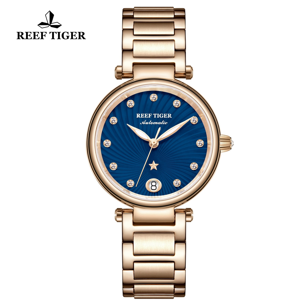 Reef Tiger Love Polaris Fashion Women Rose Gold Blue Dial Automatic Watches RGA1590-PLP
