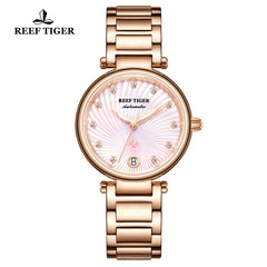 Reef Tiger Love Polaris Fashion Women Pink Dial Rose Gold Automatic Watches RGA1590-PPP