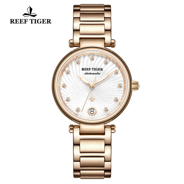 Reef Tiger Love Polaris Rose Gold Fashion Women White Dial Automatic Watches RGA1590-PWP
