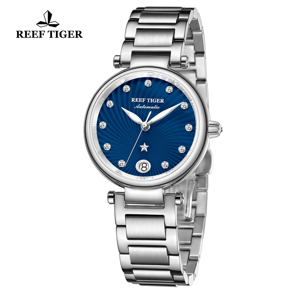 Reef Tiger Love Polaris Fashion Women Steel Blue Dial Automatic Watches RGA1590-YLY