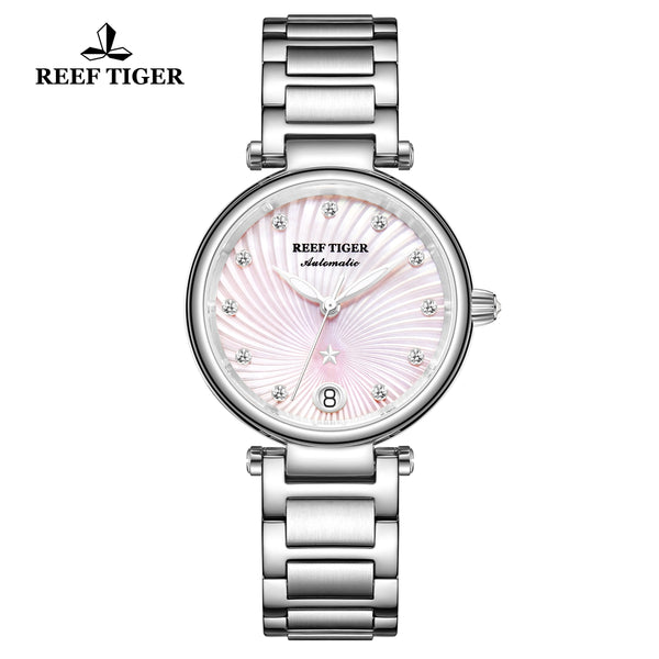 Reef Tiger Love Polaris Fashion Women Steel Pink Dial Automatic Watches RGA1590-YPY