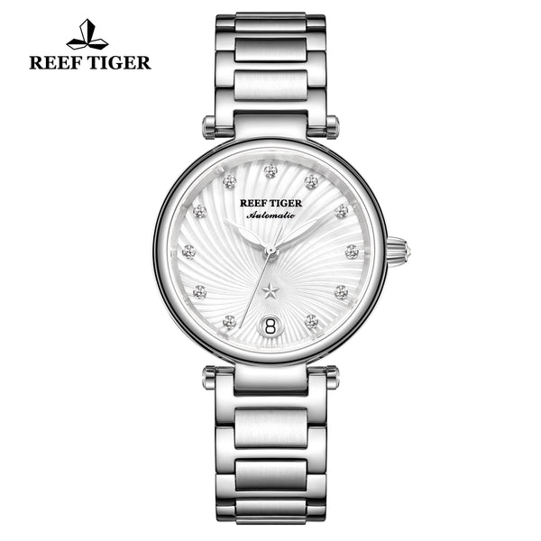 Reef Tiger Love Polaris Fashion Women Steel White Dial Automatic Watches RGA1590-YWY