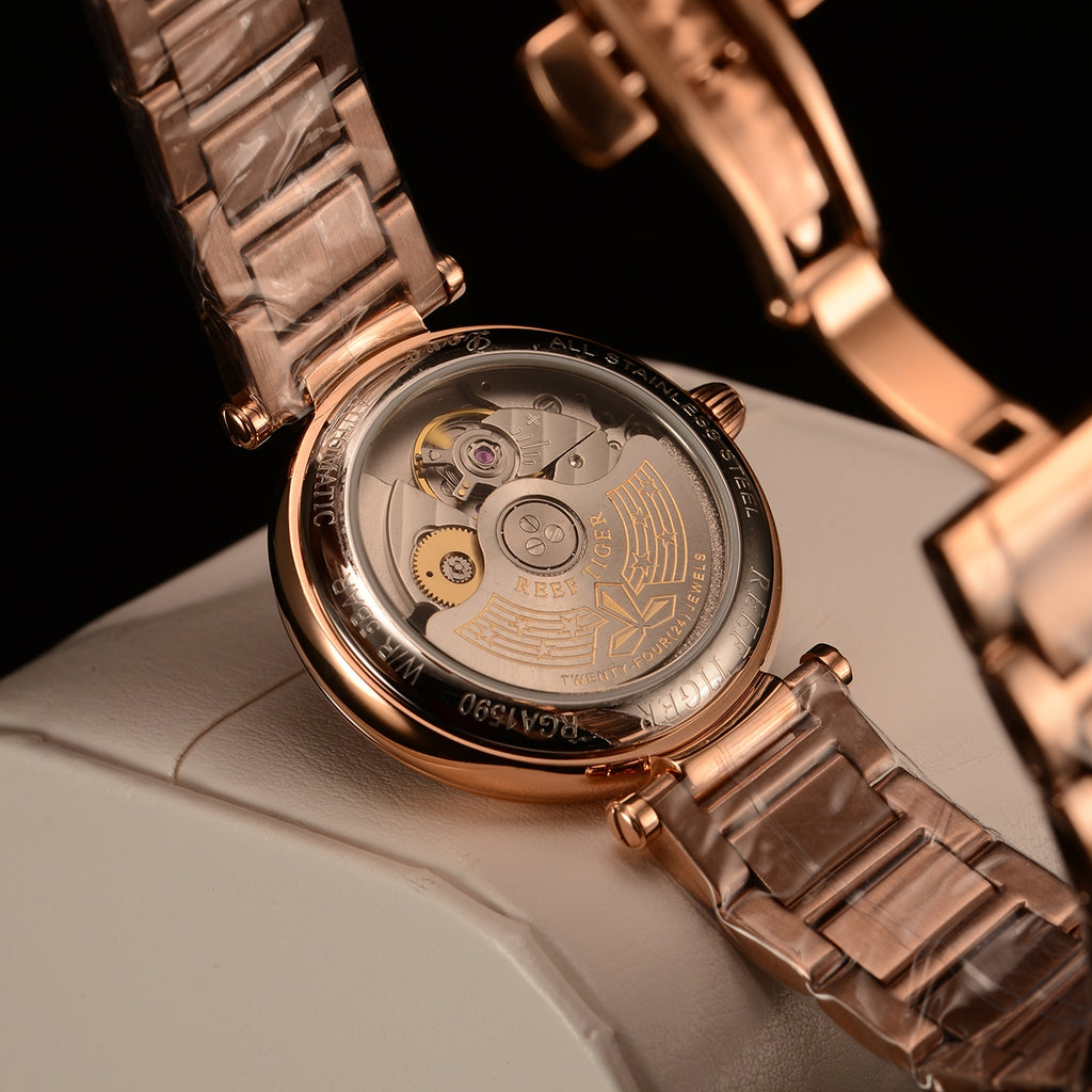 858bef6aa Reef Tiger Love Polaris Fashion Women Rose Gold Blue Dial Automatic Watches  RGA1590-PLP