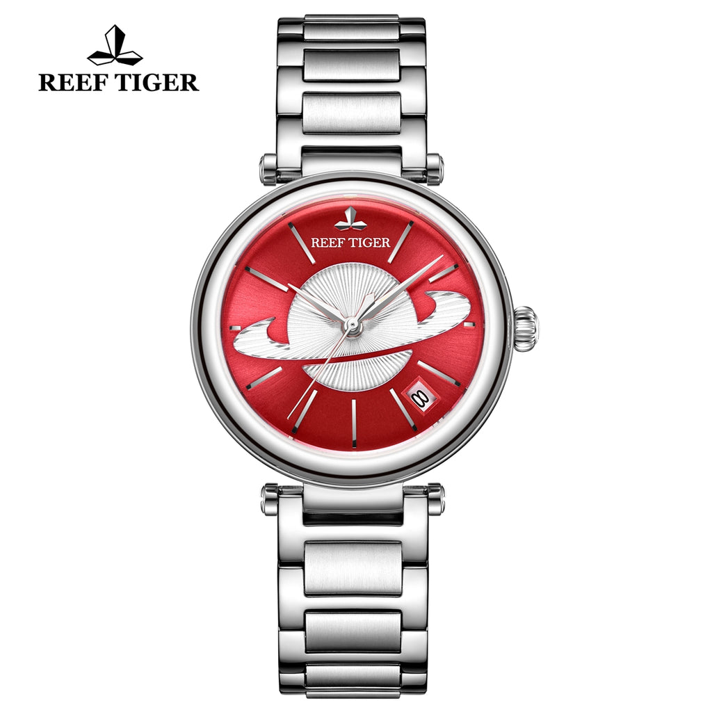 Reef Tiger Love Saturn Fashion Women Steel Automatic Watches RGA1591-YGY