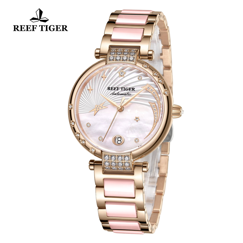 Reef Tiger Love Galaxy Fashion Women Pink Dial Rose Gold Automatic Watches RGA1592-PPT