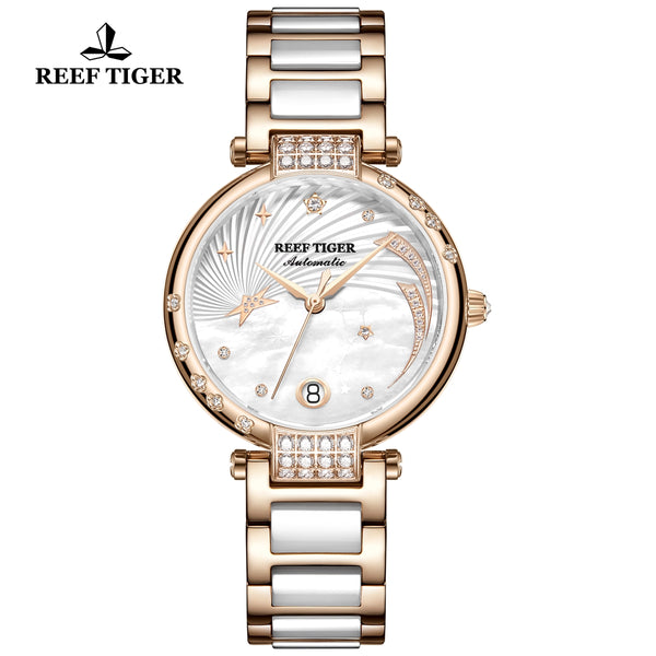 Reef Tiger Love Galaxy Fashion Women White Dial Rose Gold Automatic Watches RGA1592-PWT