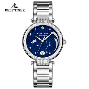 Reef Tiger Love Galaxy Fashion Women Blue Dial Stainless Steel Automatic Watches RGA1592-YLY
