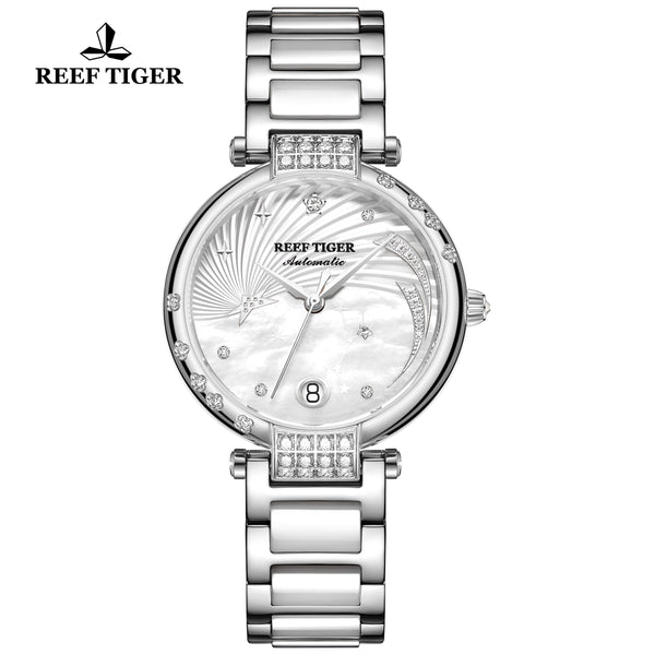 Reef Tiger Love Galaxy Fashion Women White Dial Stainless Steel Automatic Watches RGA1592-YWT