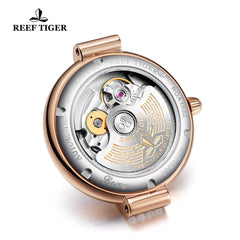Reef Tiger Love Galaxy Fashion Women Bule Dial Rose Gold Automatic Watches RGA1592-PLP