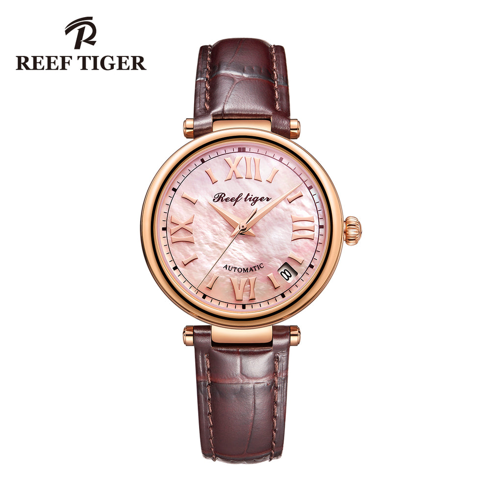 Reef Tiger Top Brand Luxury Women Automatic Watch Ladies Rose Gold MOP Dial Watches RGA1595