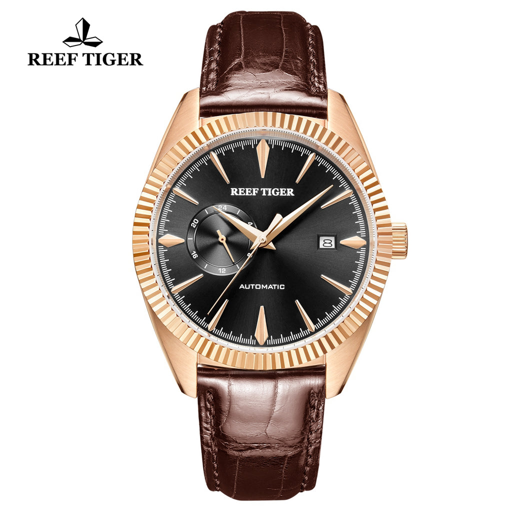 Reef Tiger Seattle Orion Fashion Men Rose Gold Genuine Leather Strap Automatic Watches RGA1616-PBB