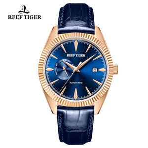 Reef Tiger Seattle Orion Fashion Men Rose Gold Blue Dial Automatic Watches GA1616-PLL