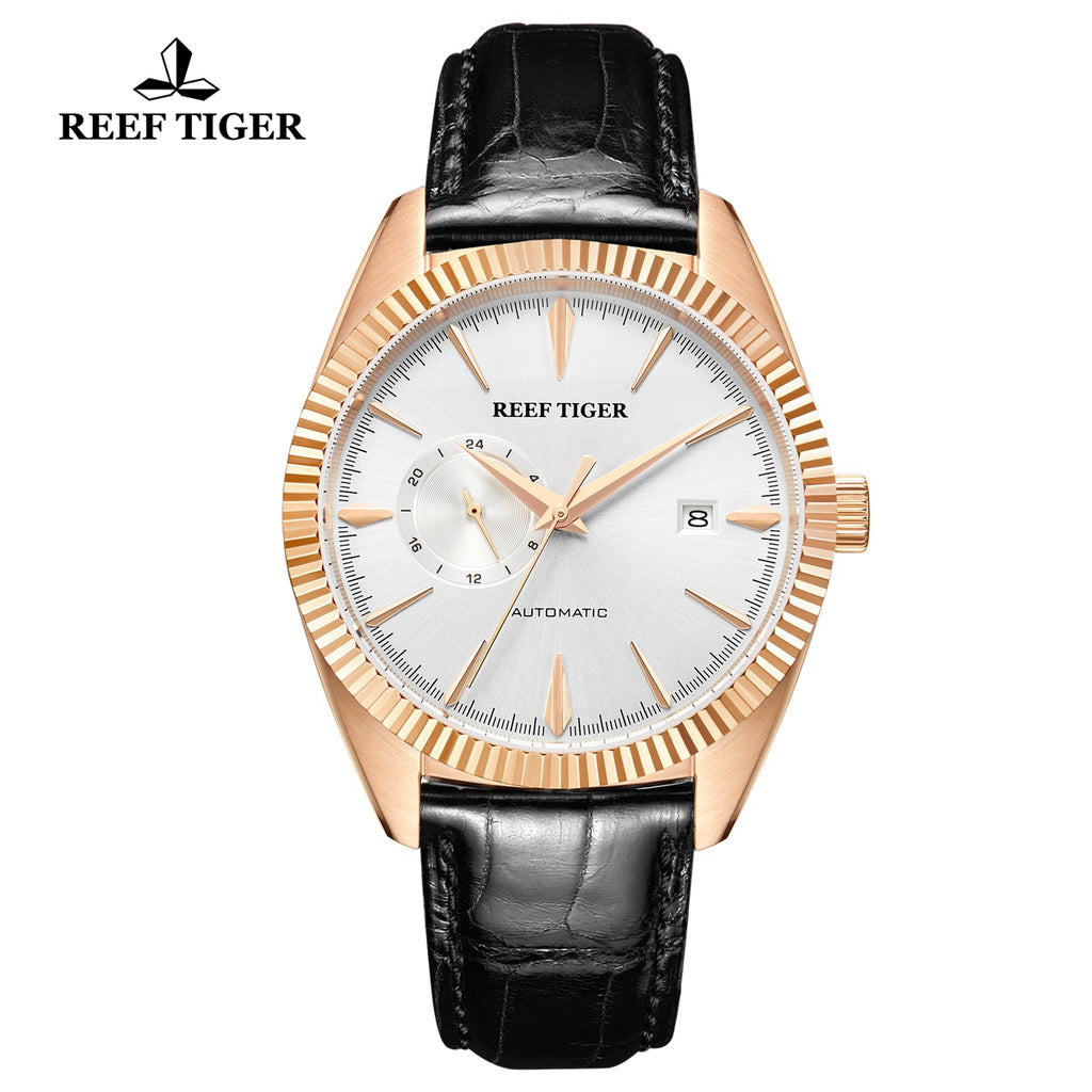 Reef Tiger Seattle Orion Fashion Men Rose Gold Genuine Leather Strap Automatic Watches RGA1616-PWS