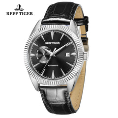 Reef Tiger Seattle Orion Fashion Men Steel Genuine Leather Strap Automatic Watches RGA1616-YBB