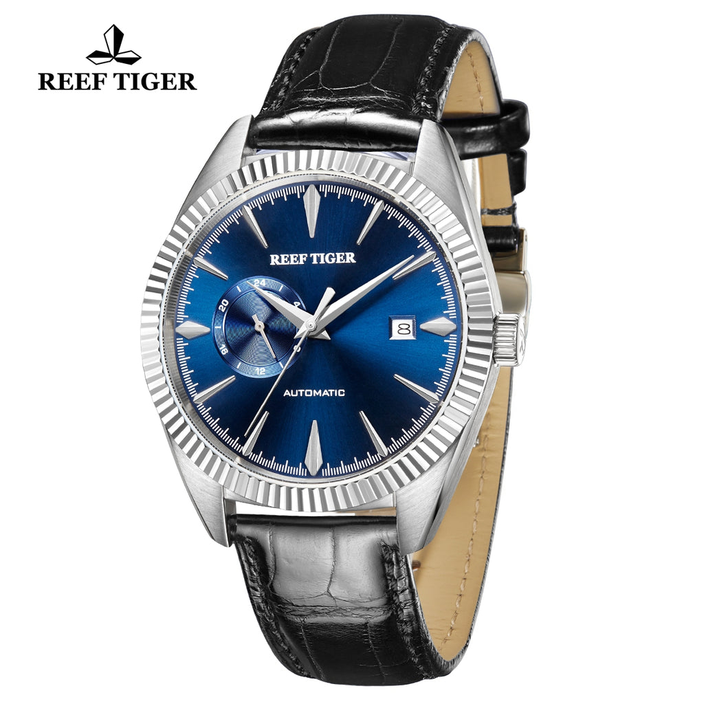 Reef Tiger Seattle Orion Fashion Men Steel Genuine Leather Strap Automatic Watches RGA1616-YLL