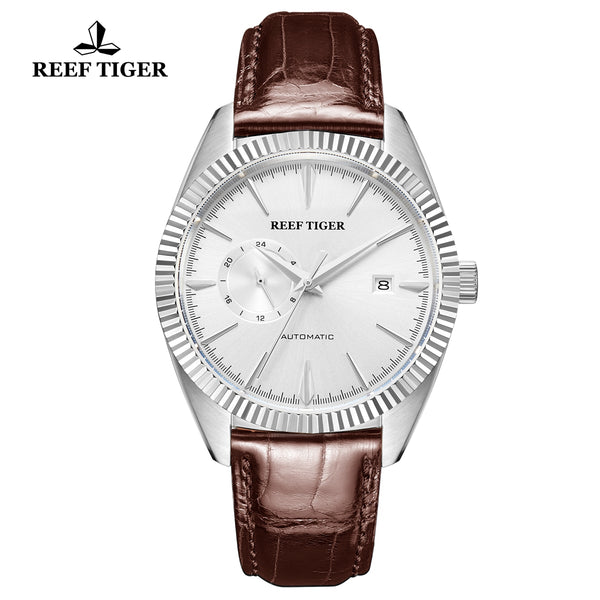 Reef Tiger Seattle Orion Fashion Men Steel White Dial Automatic Watches RGA1616-YWS
