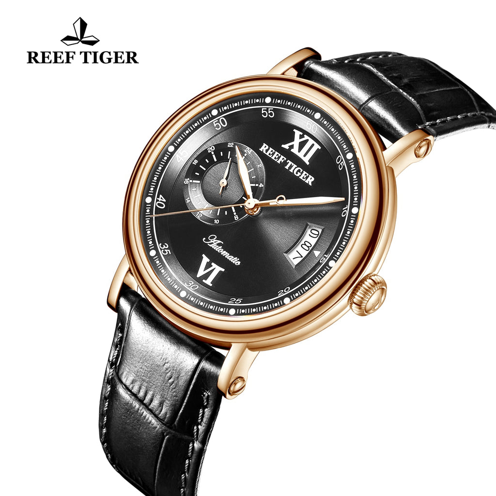 Reef Tiger Seattle Sander Casual Men Rose Gold Black Dial Leather Strap Automatic Watches RGA1617-2