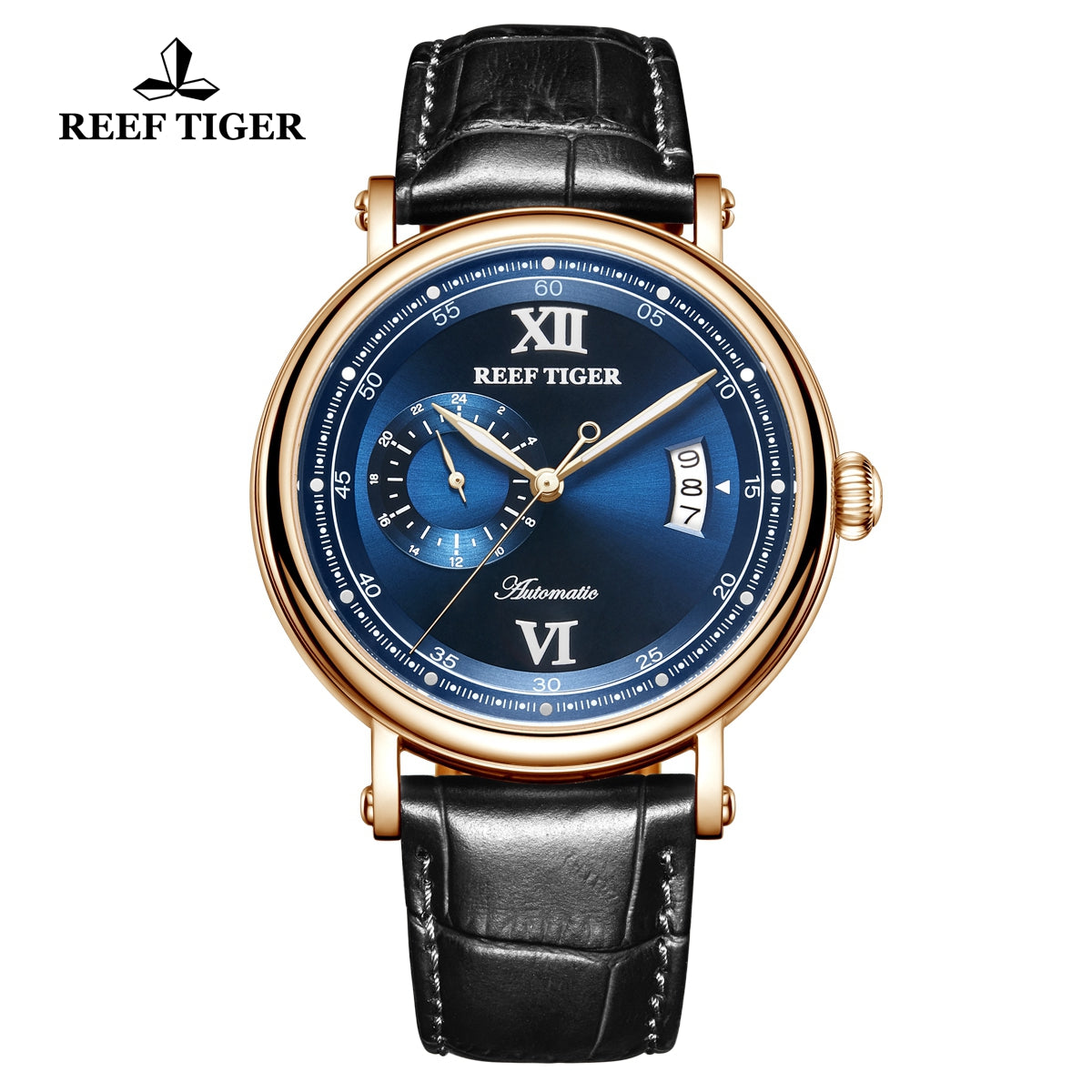 Reef Tiger Seattle Sander Casual Men Rose Gold Blue Dial Leather Strap Automatic Watches RGA1617-2