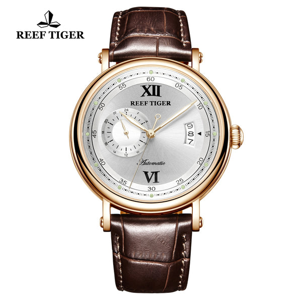 Reef Tiger Seattle Sander Casual Men Rose Gold White Dial Leather Strap Automatic Watches RGA1617-2