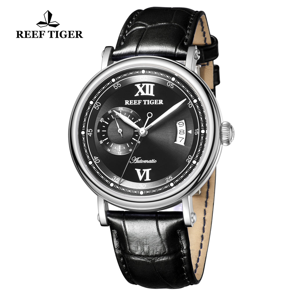 Reef Tiger Seattle Sander Casual Steel Black Dial Leather Strap Men Automatic Watches RGA1617-2