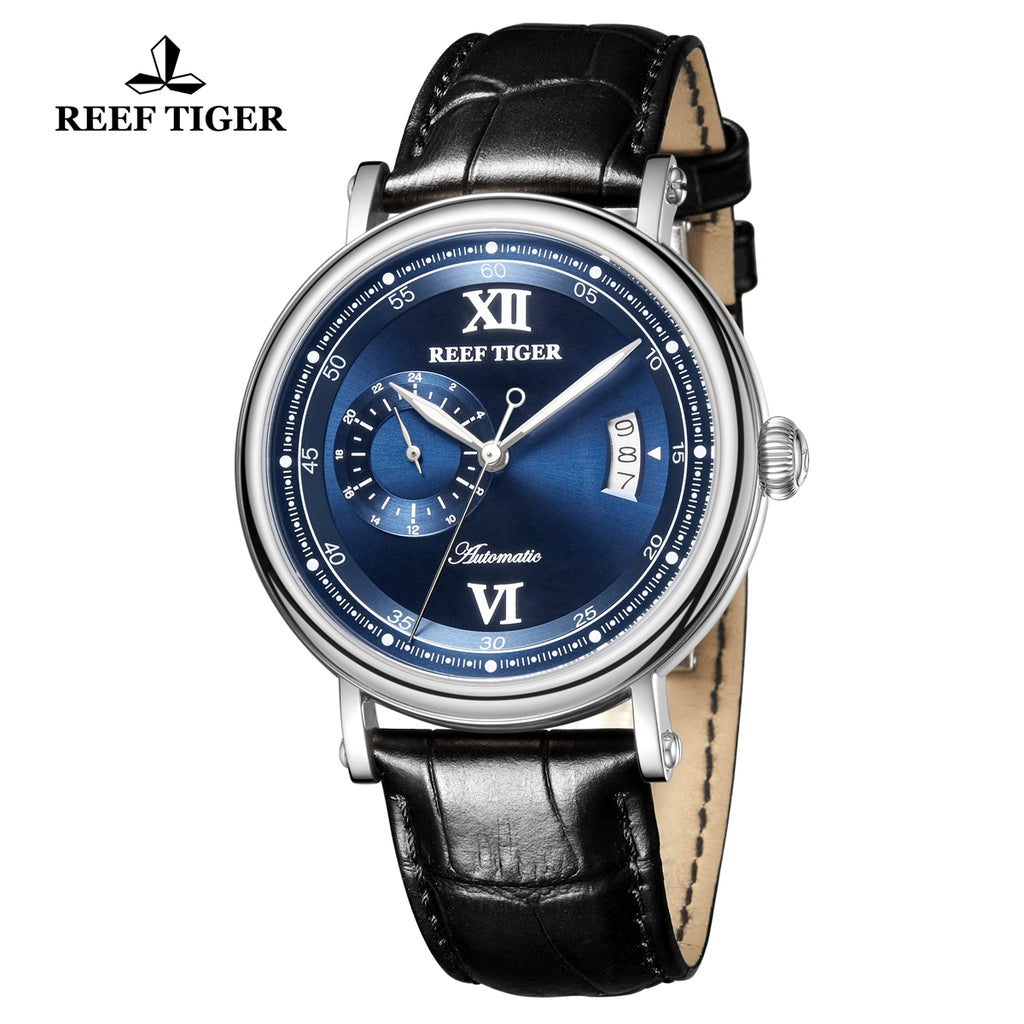 Reef Tiger Seattle Sander Casual Steel Blue Dial Leather Strap Men Automatic Watches RGA1617-2