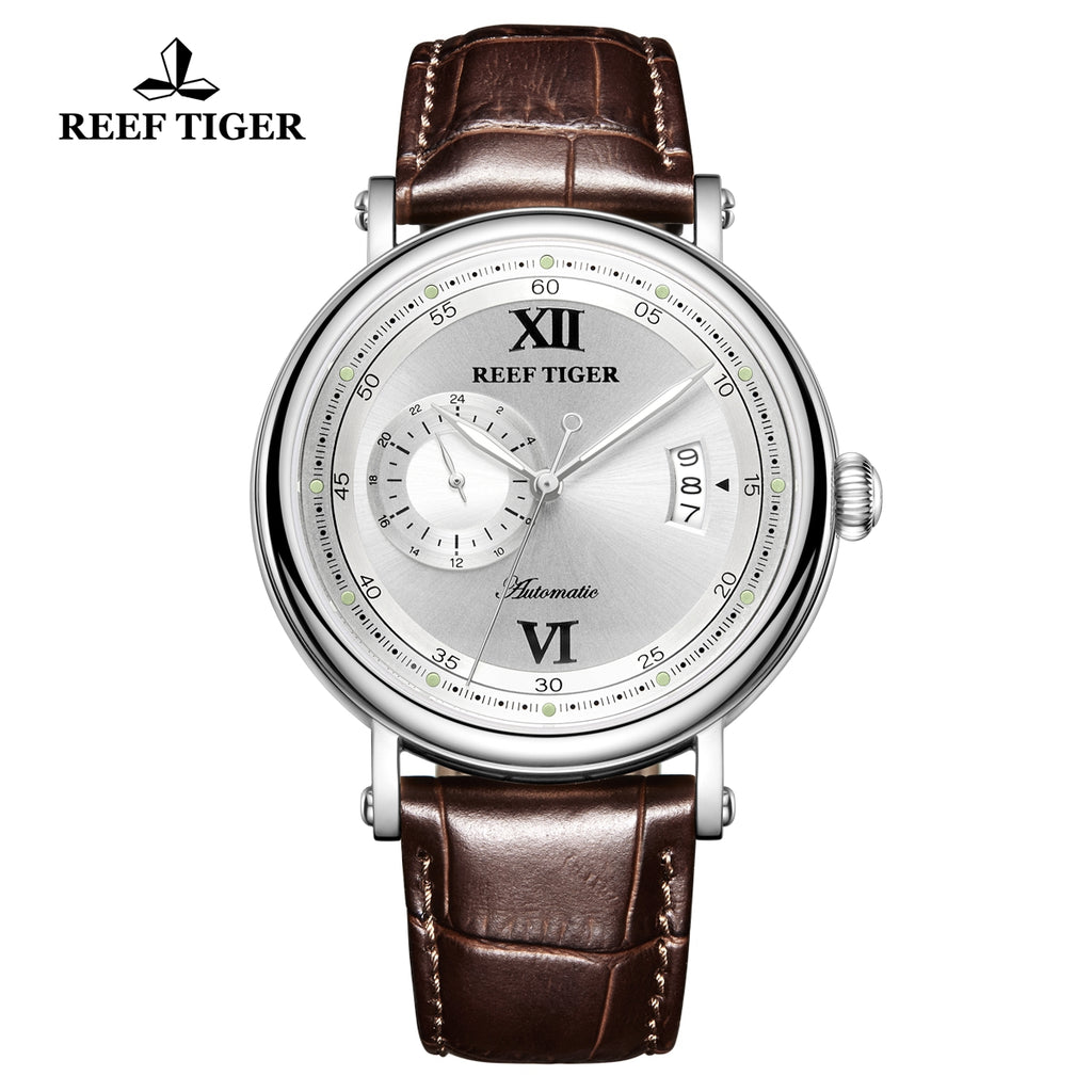 Reef Tiger Seattle Sander Casual Steel White Dial Leather Strap Men Automatic Watches RGA1617-2