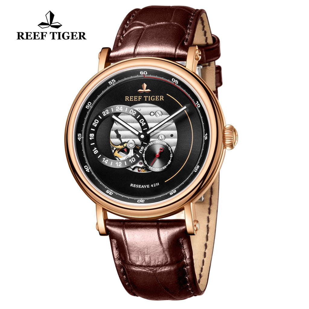 Reef Tiger Seattle Reserve Fashion Men Rose Gold Black Dial Leather Strap Automatic Watches RGA1617